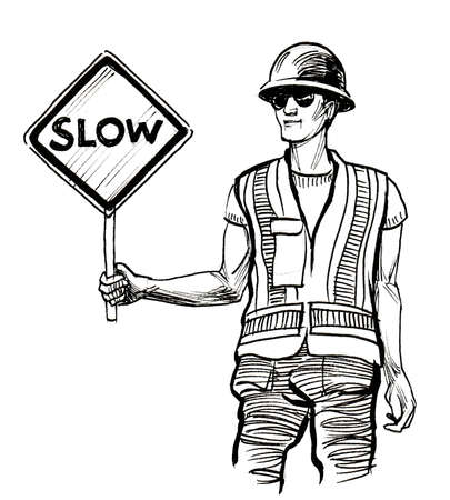Construction worker with a slow sign. Ink black and white drawing