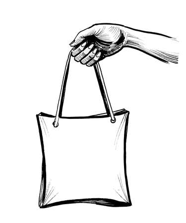 Hand holding shopping bag. Ink black and white drawing