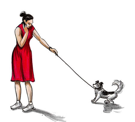 Woman with a dog. Ink and watercolor drawing Standard-Bild