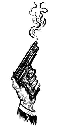Hand with a smoking gun. Ink black and white drawing