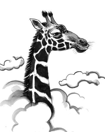 Giraffe animal in the clouds. Ink black and white drawing