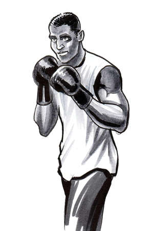 Boxing athlete. Ink and watercolor drawing