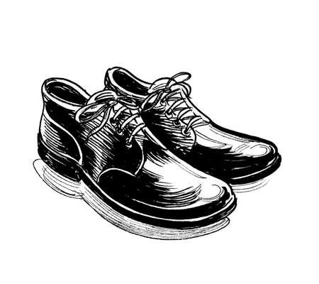 Pair of classic male shoes. Ink black and white drawing