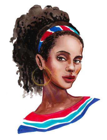 Beautiful black woman. Ink and watercolor drawing Standard-Bild