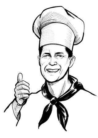 Restaurant chef showing big thumb. Ink black and white drawing Standard-Bild