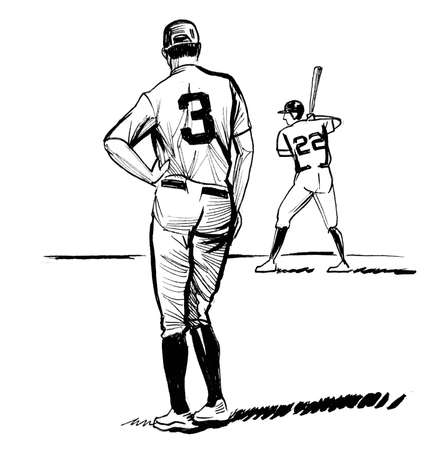 Baseball players on the field. Ink black and white drawing Standard-Bild