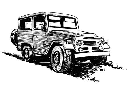 Off-road vehicle. Ink black and white drawing