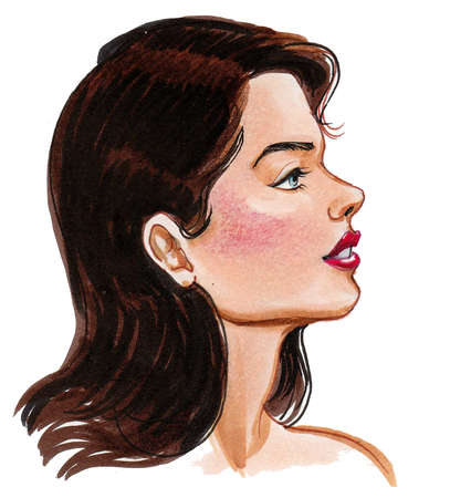 Beautiful woman with a long dark hair. Ink and watercolor drawing