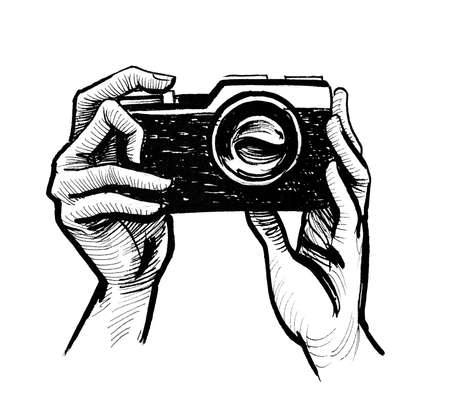 Hands holding retro camera. Ink black and white drawing