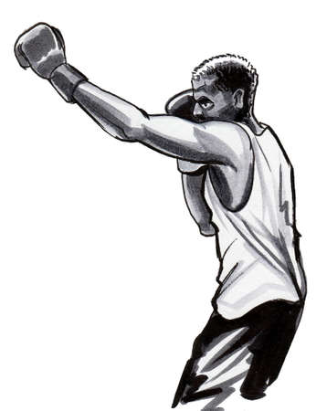 Boxing sportsman. Ink and watercolor drawing