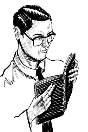 Young man in glasses reading a book. Ink black and white drawing Standard-Bild