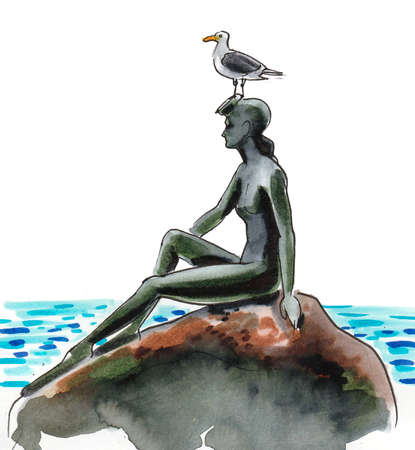Statue of girl in swimming suit and seagull in Stanley Park, Vancouver, Canada. Ink and watercolor drawing