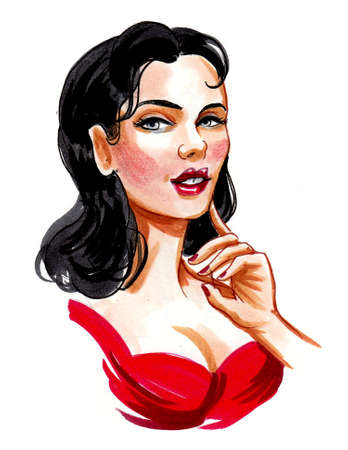 Beautiful woman in red dress. Ink and watercolor drawing Standard-Bild