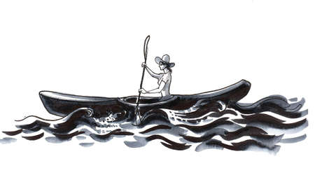 Woman rowing a canoe. Ink black and white drawing