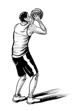 Young man playing basketball. Ink black and white drawing