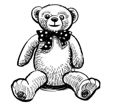 Teddy bear toy. Ink black and white drawing
