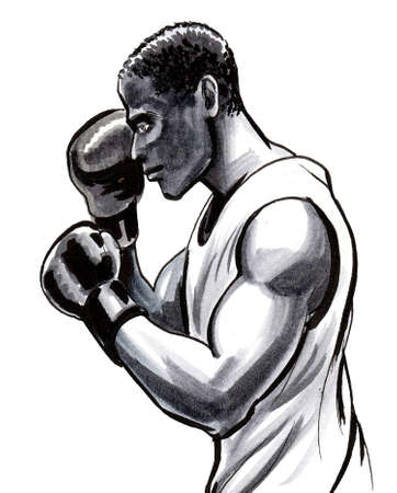 Boxing black athlete. Ink and watercolor drawing