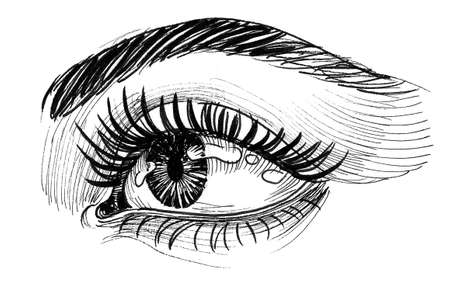 Beautiful women eye with a long lashes. Ink black and white drawing