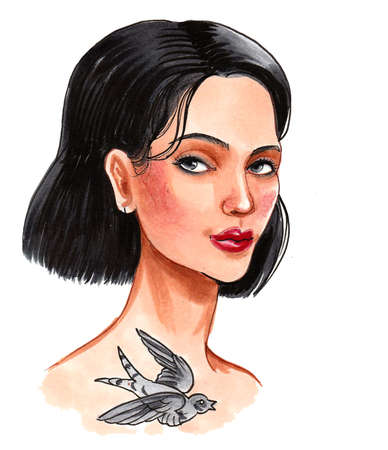 Pretty brunette girl with a swallow bird tattoo. Ink and watercolor drawing Standard-Bild