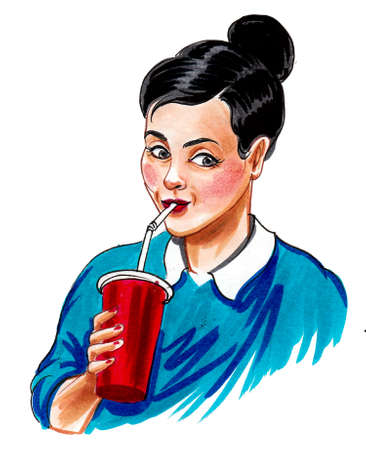 Pretty woman drinking beverage with a straw. Ink and watercolor drawing Standard-Bild