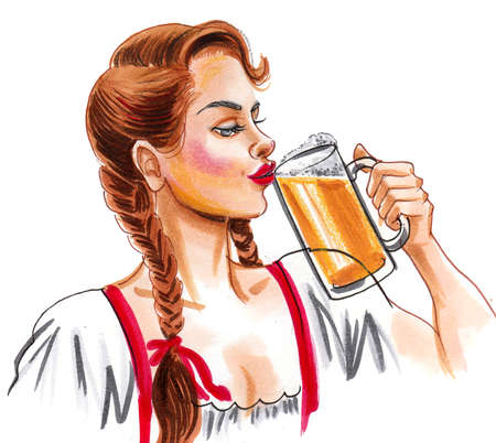 Pretty German girl drinking beer. Ink and watercolor drawing