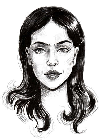 Pretty woman face. Ink black and white drawing Standard-Bild