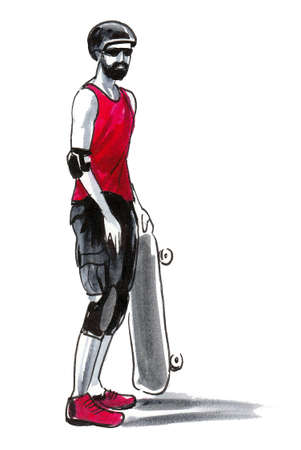 Young man with a skateboard. Ink and watercolor drawing Standard-Bild