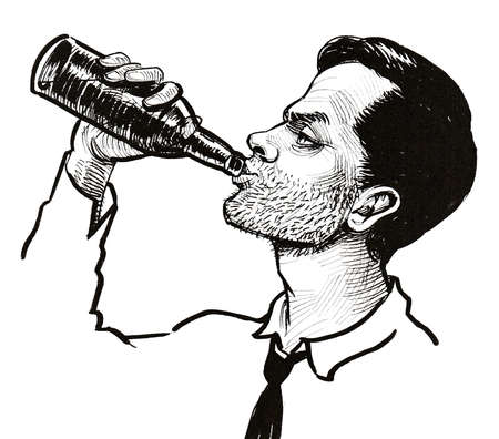 Alcoholic man drinking a beer from the bottle. Ink black and white drawing