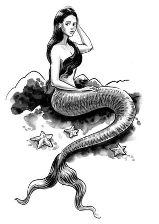 Pretty mermaid sitting at the sea. Ink and watercolor drawing