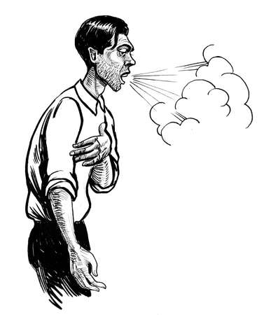 Coughing man. Ink black and white drawing 版權商用圖片