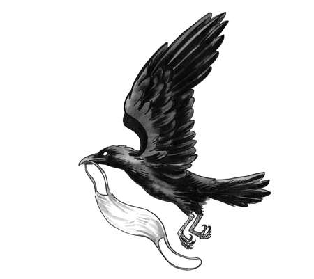 Flying Crow bird carrying medical mask. Ink black and white drawing