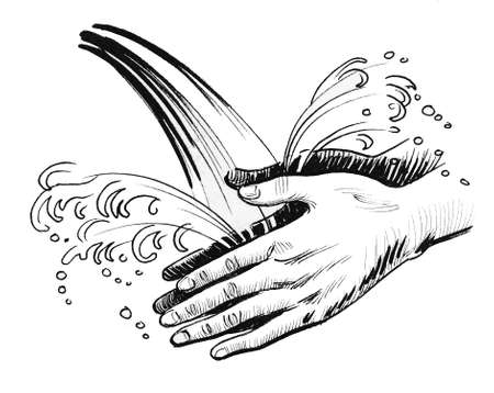 Hands washing in running water. Ink black and white drawing 版權商用圖片