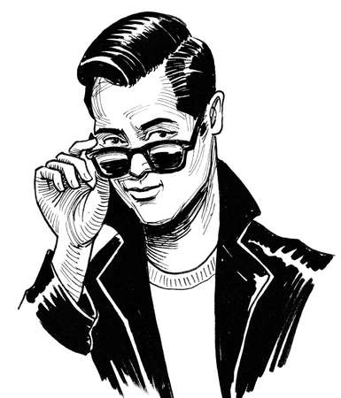 Stylish young man in sunglasses. Ink black and white drawing