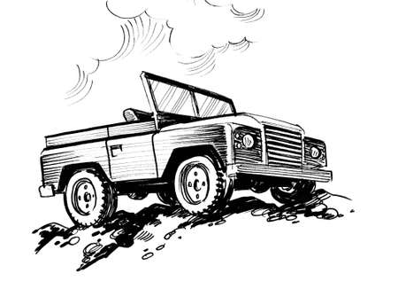 Off road military vehicle. Ink black and white drawing
