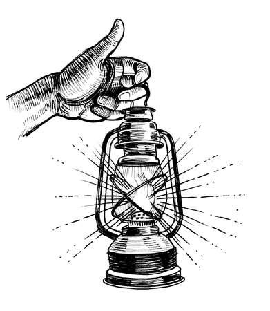 Hand holding burning lantern lamp. Ink black and white drawing
