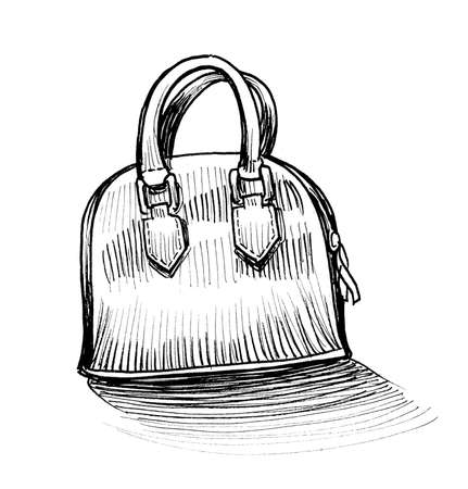 Vanity bag. Ink black and white drawing