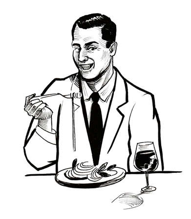 Gentleman having lunch. Ink black and white drawing
