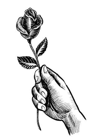 Hand holding rose flower. Ink black and white drawing