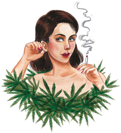 Pretty woman with cannabis leaves. Ink and watercolor drawing