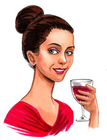 Pretty woman with a glass of red wine. Ink and watercolor drawing