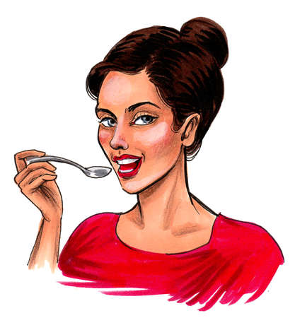 Pretty woman in red dress eating cereal with a spoon. Ink and watercolor drawing