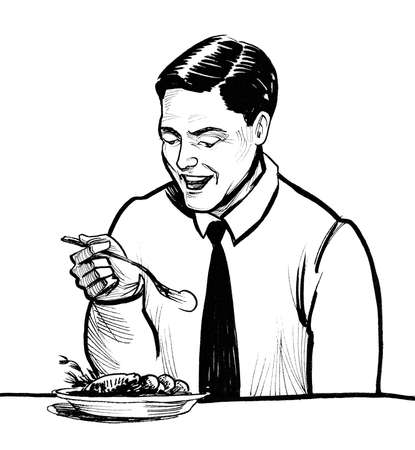 Gentleman eating lunch. Ink black and white drawing