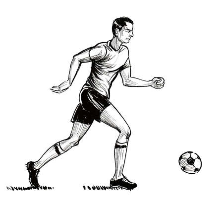 Soccer player running with a ball. Ink black and white drawing 版權商用圖片