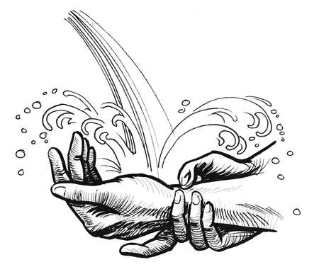 Hands in the running water. Ink black and white drawing