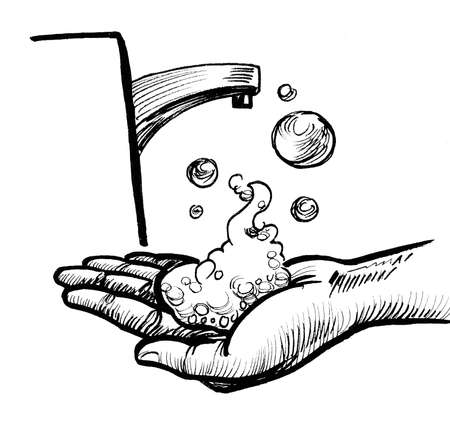 Hand washing with soap. Ink black and white drawing
