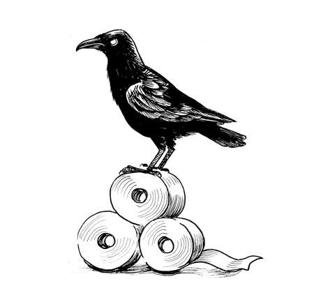 Crow bird on a rolls of toilet paper. Ink black and white drawing 免版税图像