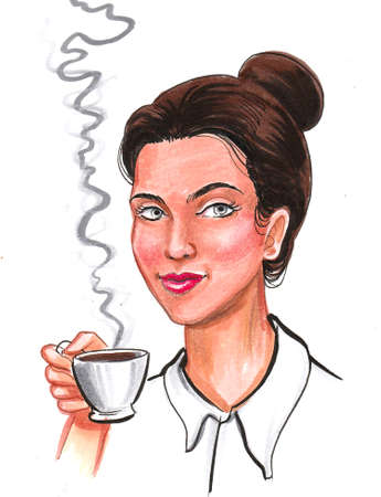 Pretty woman with a cup of tea. Ink and watercolor drawing