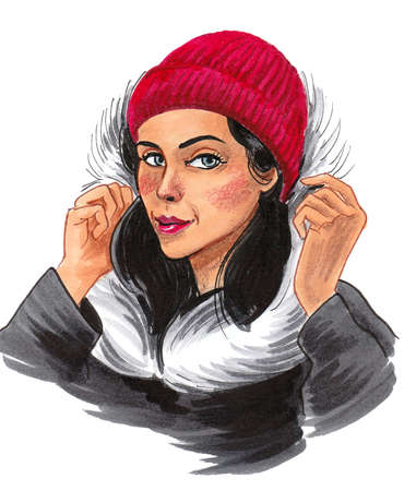 Pretty girl in winter clothing. Ink and watercolor drawing