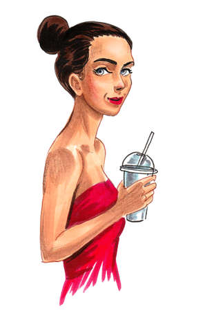 Woman with drink. Ink and watercolor drawing