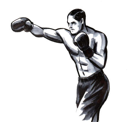 Boxing athlete. Ink black and white drawing